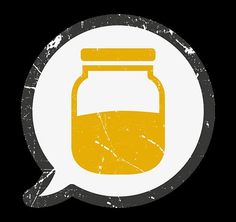 Ein oranges Symbol mit einem vollen Behälter.