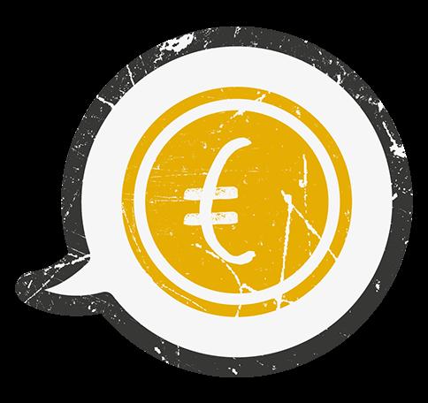 Ein oranges Symbol mit einem Euro-Zeichen.